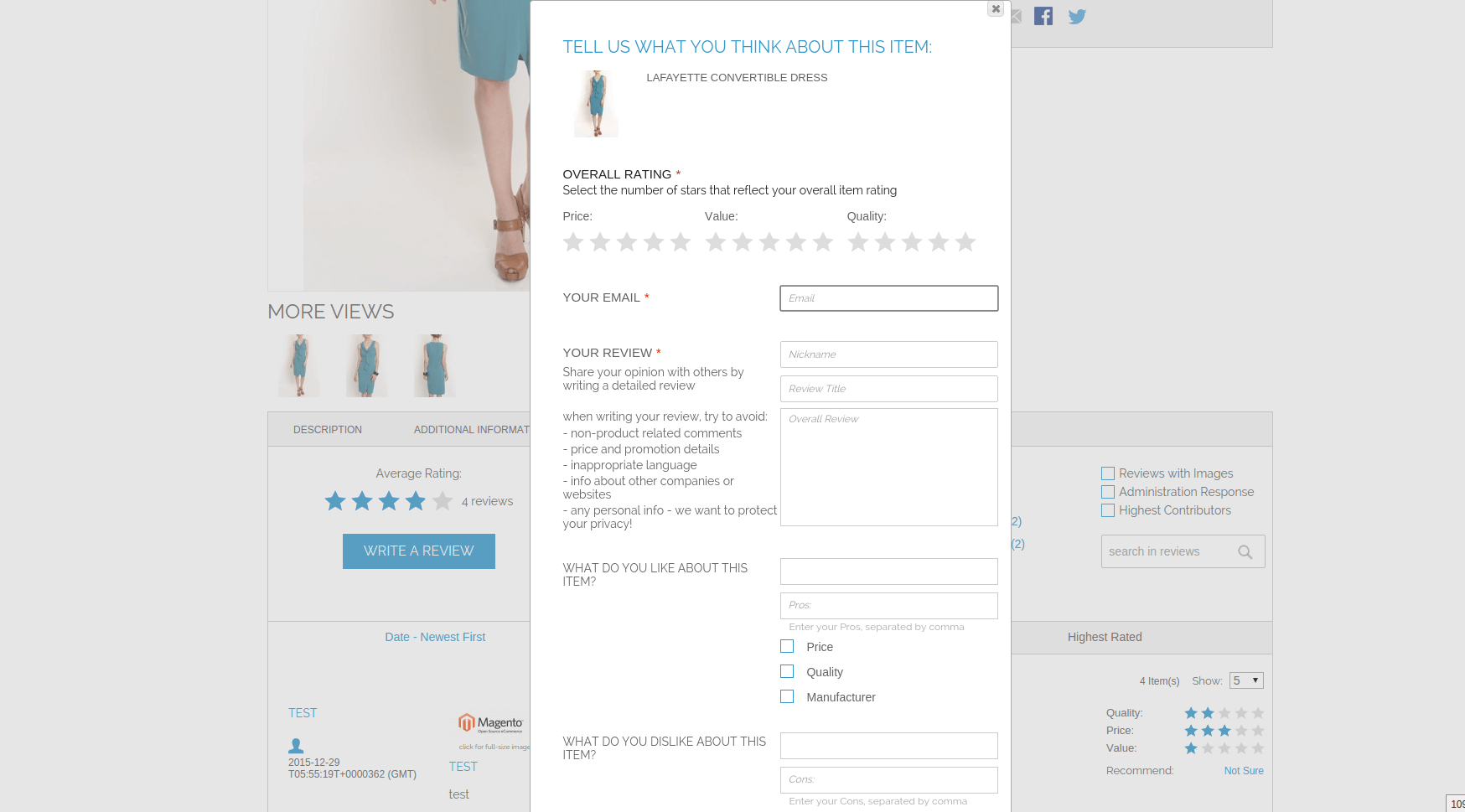 d1e1a42ab83 Detailed Product Review extension for Magento