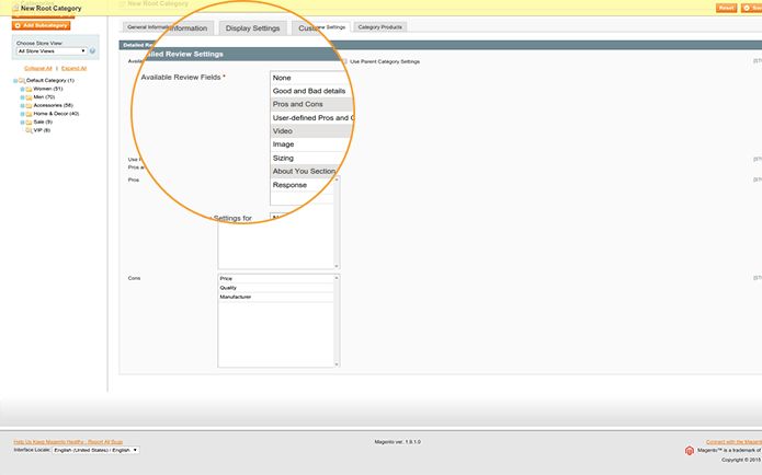 Configure displaying fields per category